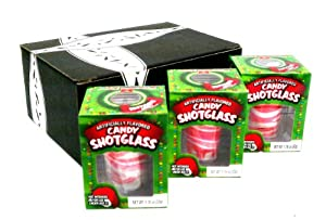 New Years Peppermint Candy Cane Edible Shot Glasses in Gift Box (Includes 3 Shot Glasses)