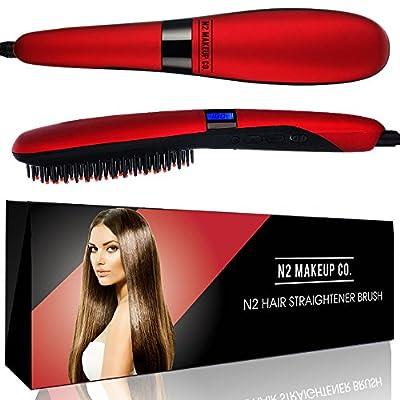 Hair Straightener Ceramic Straightening Brush, Professional Detangling Iron Styling Tool, Fast Heating for Silky Smooth Hair
