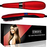 Hair Straightener Ceramic Straightening Brush, Professional Detangling Iron Styling Tool, Fast Heating for Silky Smooth Hair