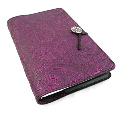 Purple Paisley Embossed Leather Writing Journal, 6 x 9-inch+ Refillable Hardbound Insert Book - Oberon Journal