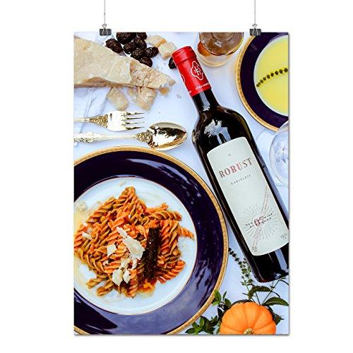 Doux Du vin Et Pâtes Manger Matte/Glacé Affiche A0 (119cm x 84cm) | Wellcoda