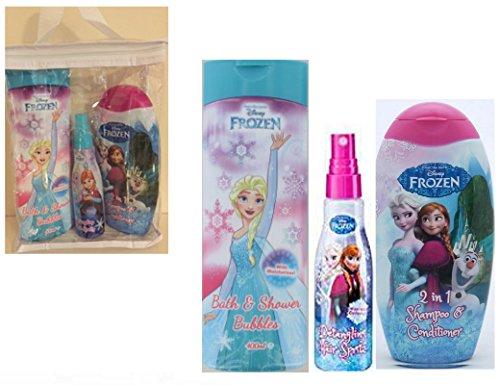 Disney FROZEN SET REGALO - 5.1cm 1 Shampoo & Balsamo , Bagnoschiuma, Spazzola Capelli & Capelli Elastici