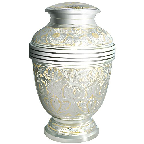 Cremation Urns by Meilinxu - Funeral Urn for Human Ashes Adult or Pet Urns for Dogs Ashes- Hand Made in Brass / Hand Engraved - Display Burial Urn At Home or in Niche at Columbarium (Silvery Shine (Big Urns For Human Ashes compare prices)