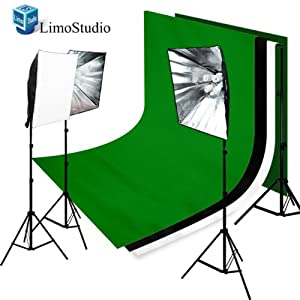 Limo studio 2400 Watt Chromakey Green/White/Black Muslin Backgrounds Video Lighting Kit With Softbox Light Kit, AGG851