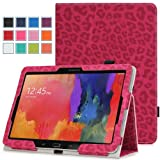 Moko Samsung Galaxy Tab PRO 10.1 Case - Slim Folding Cover Case for Galaxy TabPRO 10.1 SM-T520N Android Tablet, Leopard RED (With Smart Cover Auto Wake / Sleep)