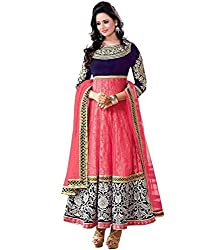 Kimberly Women's Net Embroidered Anarkali Embroidered Semi-Stitched Salwar Suit (SRA-06_Pink)