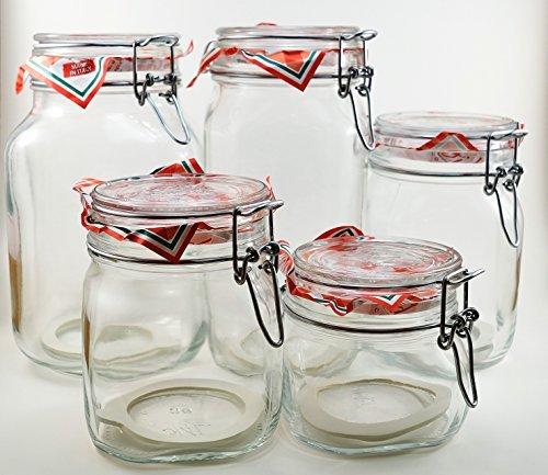 Glass Canning Canister Jars - Bormioli Rocco Fido Set Of 5 (Five) Jars - Sizes: .5l, .75l, 1l, 1.5l And 2 Liters