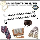 Huji High Quality Wall Mount Tie and Belt Rack Organizer, White (1)