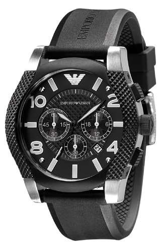 Emporio Armani Gents Round Stainless Steel And Black Ip Case Chronograph Black Dial Black Rubber Strap Watch