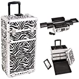29 inch 2 in 1 Zebra Printing Texture Professional Rolling Wheeled Travel Cosmetics Train Case Makeup Trolley w/ 4 Easy Sliding Extendable Trays + 4 Aluminum Drawers by MyGift