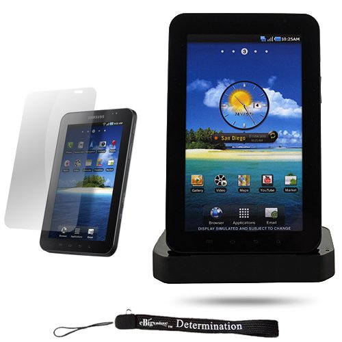 Black Charging Station Dock with LED Indicator / Cradle Stand for New Samsung Galaxy Tab Tablet Device + Includes a Durable Screen Protector