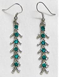DollsofIndia Stone Studded Fishbone Earrings - Stone And Metal - Green