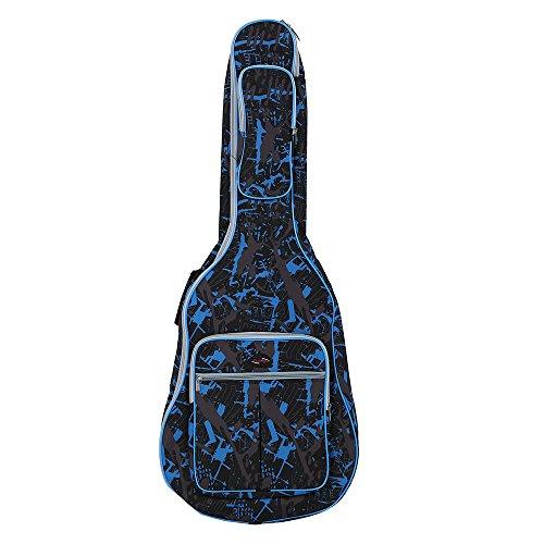 Andoer® - Custodia Gig per chitarra classica, acustica e folk in tessuto Oxford 600 D impermeabile, con cinghie doppie cucite e imbottite, tracolla e motivo decorativo mimetico