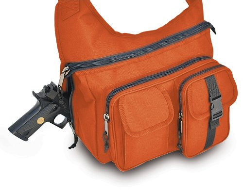 Ultimate Arms Gear Tactical Safety Blaze Orange Shoulder Slip Multi-Functional Heavy Duty Sling Equipment Field Messenger Bag With Adjustable Shoulder Length Straps With Concealed Pistol Gun Holster Compartment, Note Book, Computer Laptop, Ipad I Pad & Ma