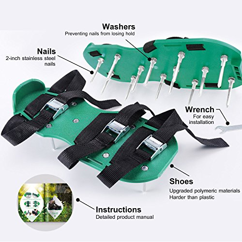 Lawn Aerator Shoes, New Version Lawn Aerator Sandals, Heavy Duty Lawn Spiked Shoes for Grass - One Size Fits All, Best Lawn Aerator Tool Ever