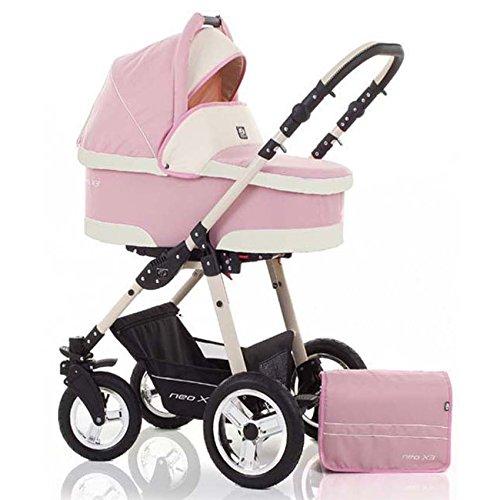 2 in 1 Kinderwagen Neo X3 - Kinderwagen + Sportwagen + GRATIS ZUBEHÖR in Farbe Pink-Creme
