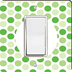 Rikki Knight World's Greatest Uncle Green Polka Dot Single Rocker Light Switch Plate