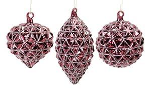 "12 Rose Blush Glittered Prism Round Onion Shuttle Glass Christmas Ornaments 4""-6"""