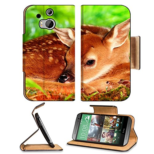 Deer Baby Bambi Rest Sleep Htc One M8 Flip Case Stand Magnetic Cover Open Ports Customized Made To Order Support Ready Premium Deluxe Pu Leather 6 4/16 Inch (158Mm) X 3 4/16 Inch (82Mm) X 9/16 Inch (14Mm) Liil Htc1 Cover Professional M 8 Cases M_8 Accesso front-314919
