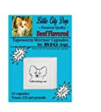 BEEF FLAVORED Praziquantel Tapeworm Wormer Capsules for BIG Dogs (15 Capsules)