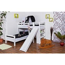 Spielbett Etagenbett Moritz L Buche Vollholz massiv, weiß lackiert, inkl. Regal und Rutsche, Rollrost - 90 x 200 cm