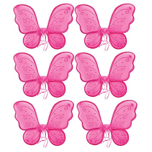 Bulk Hot Pink Child Costume Fairy Wings (6 pc)