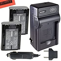 Pack of 2 NP-FH50 Batteries and Battery Charger for Sony CyberShot DSC-HX100V DSC-HX200V Digital Camera + More!!