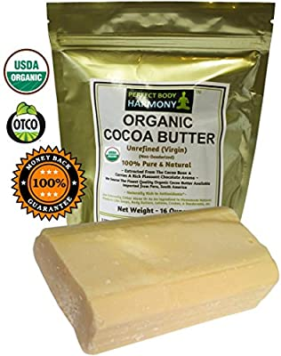 Real CERTIFIED Organic Cocoa Butter, Premium Unrefined, Non-Deodorized, Extracted From The Cacao Bean ~ Rich Chocolate Aroma! Naturally Rich In Antioxidants! THE BEST! [Choose Your Size Option]
