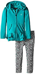 Calvin Klein Little Girls\' Hooded Jacket with Printed Pants, Multi, 5