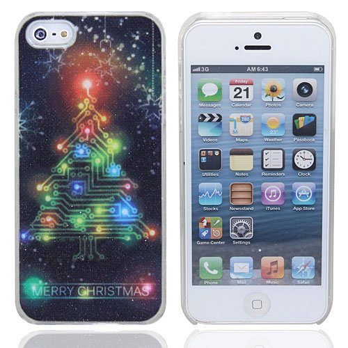 Leexgroup®Colorful Christmas Tree Pattern Led Flash Case For Iphone 5 5G + Free Paster + Screen Protector +Cleaning Cloth+Cr2016 Button Battery