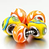 Pugster 5 Bright Orange Yellow Beads Fit Pandora Charms (include bracelet)-Murano Glass Beads Fits Pandora Chamilia Carlo Biagi