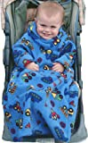 POP-ON Sleeved Buggy Blanket Babies and Toddlers 1-3 years for Buggies and Car Seats - DUMPER TRUCKS