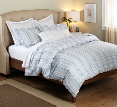 Purchase Pinzon 100-Percent Cotton Printed Duvet Set, Full/Queen, Blue/Gray Stripe