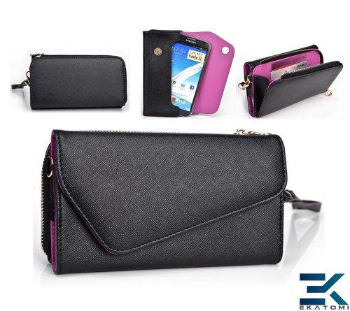 Epi Leather Wallet Wrist-Let With Universal Phone Clutch Fits Lg Optimus G Pro Case - Black & Purple. Bonus Ekatomi Screen Cleaner front-1079450