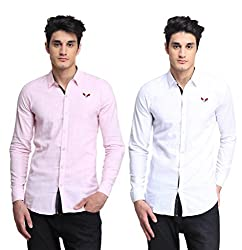 BRAVEZI Men's Pink & White Solid Casual Slim Fit Shirt