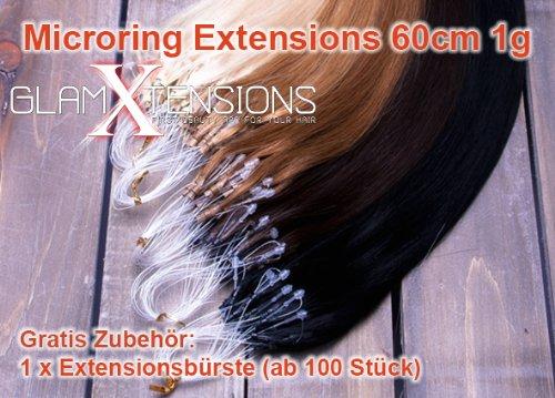 GlamXtensions Extensions de cheveux - 100% naturel 60cm - 1,0g - origine Inde - avec les micros anneaux 100 mèches #12 brun clair - light brown