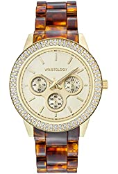 WRISTOLOGY Alex Womens Chunky Gold Metal Boyfriend Watch w/ Torroise Shell & Crystals