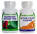 Raspberry Ketone Trim and Active Colon Cleanse by Natural Answers - 2 x 60 Capsules - Healthy Weight Loss Food Supplement - 2 Months Supply