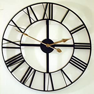Large Skeleton Frame Wall Clock With Roman Numerals 24