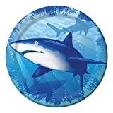 Creative Converting Shark Splash Round Dessert Plates, 8 Count