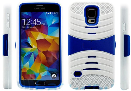 Mylife Bright White And Deep Royal Blue - Shockproof Survivor Series (Built In Kickstand + Easy Grip Ridges) 2 Piece + 2 Layer Case For New Galaxy S5 (5G) Smartphone By Samsung (Internal Flex Silicone Bumper Gel + Internal 2 Piece Rubberized Fitted Armor