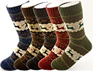 Zando Womens Super Thick Merino Ragg Wool Crew Winter Socks 5-Pack