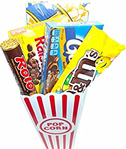 Movie Night Popcorn and Candy Gift Basket ~ Includes Movie Theater Butter Popcorn and Concession Stand Candy (Goobers)