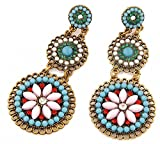 JSDY Womens Girls Bohemia Colorful Beads Round Dangle Ear Stud Earrings Fashion Jewelry Blue