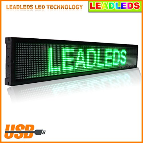 "Leadleds Ultra Green 49.5""X 6.3"" Usb Programmable Scrolling Led Window Sign Display Board With Strong Aluminum Alloy Frame"