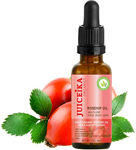 "Organic Rosehip Oil The Best Ultimate Skin Care With Vitamins A, E, And C - Irreplaceable ""Oil Of Youth"". 100% Fresh Oil. 100% Pure Moisture. Deluxe Shield For Skin & Hair By Juiceika"