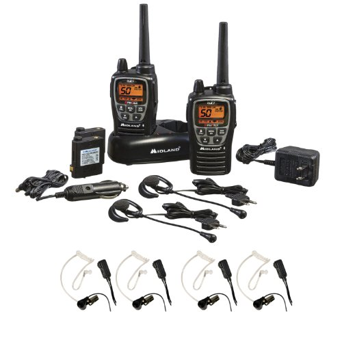 Midland H2O Waterproof 50-Channel Two-Way Radio W/ 284 Privacy Codes And Headset + Transparent Security Headsets W/ Ptt/Vox - Pair