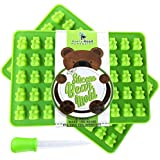 NEW Premium Gummy Bear Mold - 2 PACK - BONUS DROPPER - 100 Bears on Trays + RECIPE PDF - Green Silicone Molds 100% Food Grade BPA Free and FDA Approved Candy Chocolate & Gelatin Maker