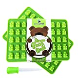 Premium Gummy Bear Mold - 2 PACK - BONUS DROPPER - 100 Bears on Trays + RECIPE PDF - Silicone Molds 100% Food Grade BPA Free FDA Approved Candy Chocolate & Gelatin Maker