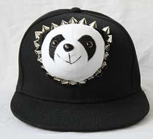 Haute Couture Hat Rivets Hip-hop Doll Hat Hip-hop Baseball Panda Rivet Hat(black)